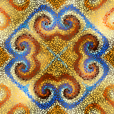 A Seamless background pattern. Irregular decorative geometric mosaic art tile pattern from uneven broken pieces.