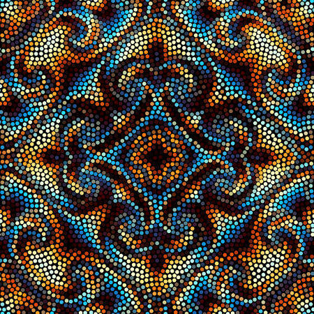 Irregular dots pattern. Seamless background. Mosaic art tile of small dots. Random circles.