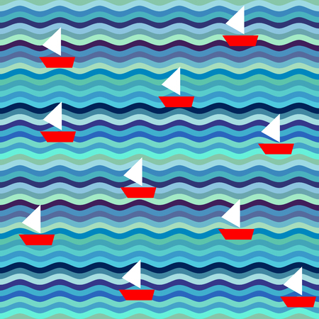 Seamless background pattern. Wavy pattern with ships.