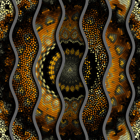 Ornate seamless different mosaic texture background. Relief waves of ornamental mosaic tile patterns.