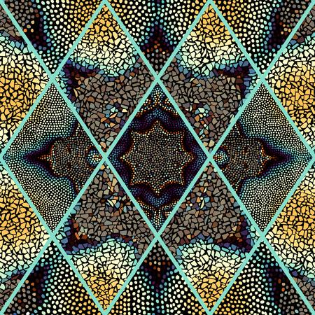Mosaic art seamless pattern of rhombuses of different tile textures. Illusztráció