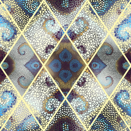 Seamless background pattern. Mosaic art pattern of rhombuses of different tile textures. Illustration