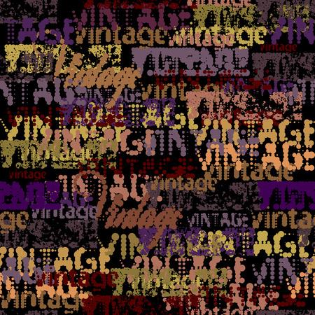 Halftone grunge seamless background pattern with vintage words. Ilustração