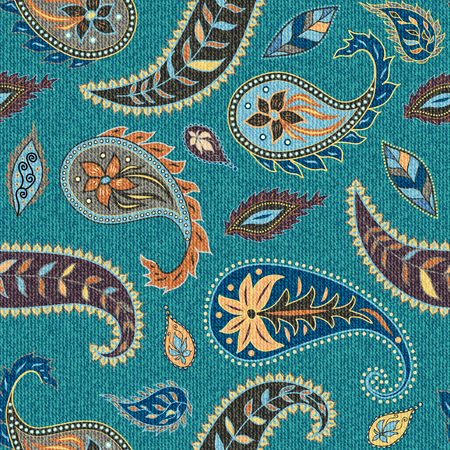 Pattern based on decorative elements Paisley. Seamless pattern in indian style. Texture of fabric.