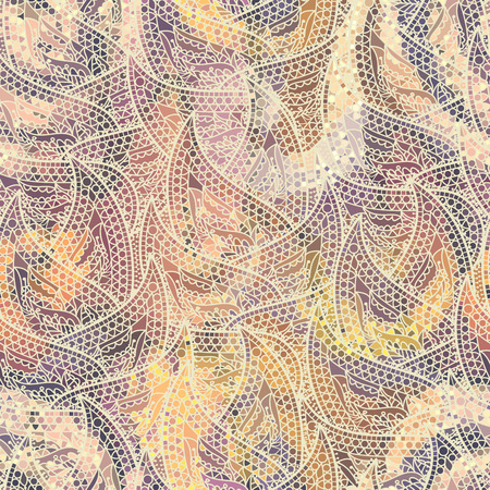 Low poly ornamental texture based on decorative elements Paisley. Seamless pattern in indian style.