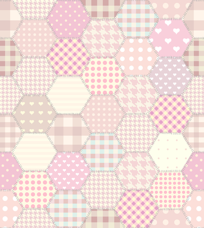Seamless background pattern. Geometric pink patchwork pattern of a hexagons.