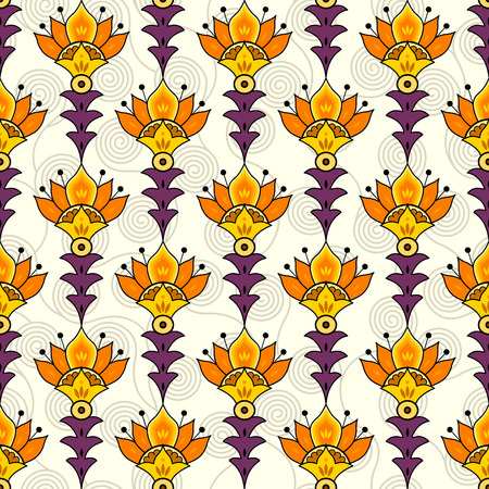 Vector seamless pattern. Stylish ornament of flowers in Egypt style.