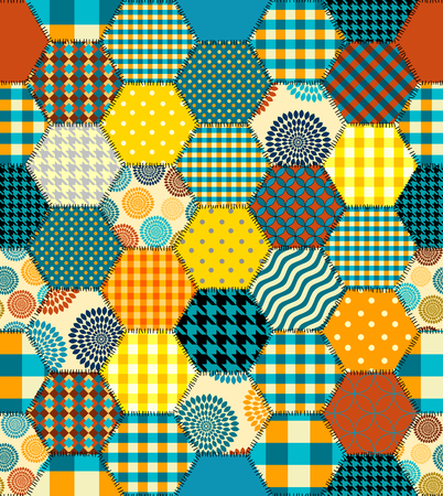 Seamless background pattern. Geometric patchwork pattern of a hexagons.
