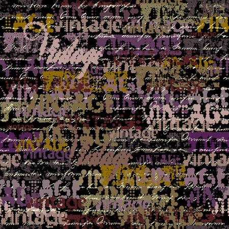 Seamless background pattern. Halftone grunge pattern with a Vintage words. Illustration