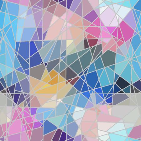 Motif de fond transparent. Mosaïque géométrique décorative irrégulière motif de carreaux d'art de pièces inégales brisées. Vecteurs