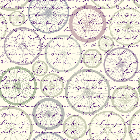 Seamless background pattern. Pattern of bycicles wheels. Illustration