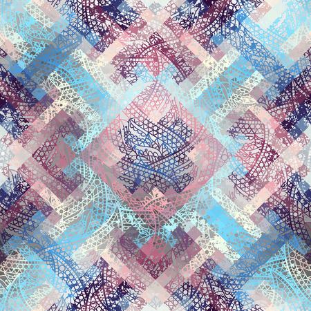 Seamless background pattern. Grunge ethnic pattern with paisley ornament . Ilustração