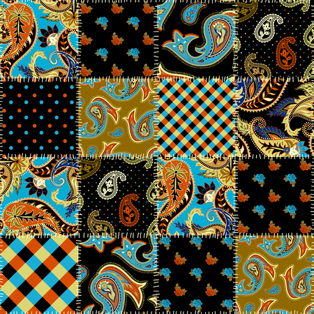 Geometric patchwork pattern of a squares. Paisley ornament. Illustration