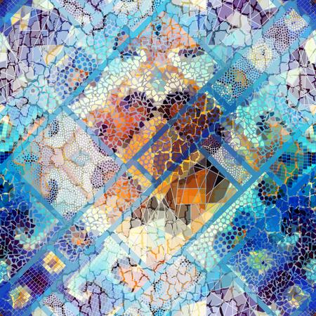 Seamless background pattern. Irregular decorative geometric mosaic art tile pattern from uneven broken pieces. Vintage crack effect.