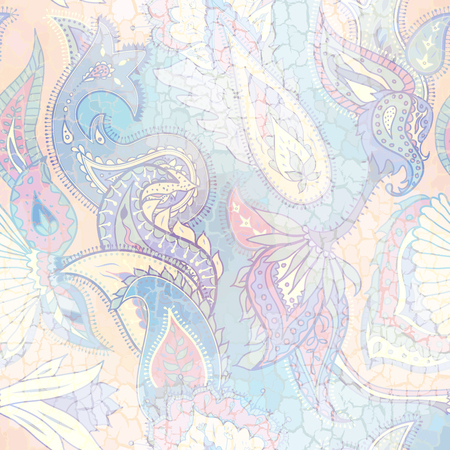 Pattern based on decorative elements Paisley. Seamless pattern in Indian style. Vintage grunge crack effect.