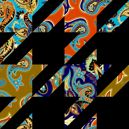 Hounds-tooth pattern in a patchwork style with pattern based on decorative elements Paisley. Seamless pattern in indian style.