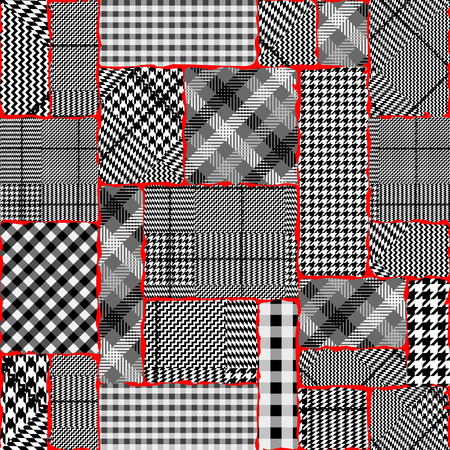Seamless vector pattern. Patchwork of Classic Glen Plaid patterns. Illustration