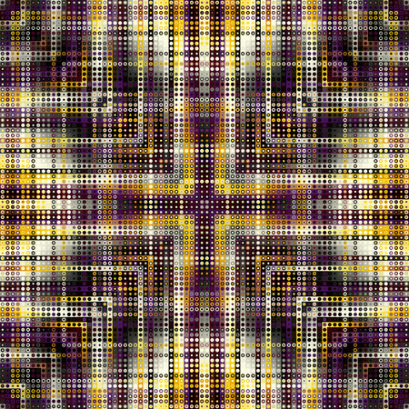 Seamless background. Geometric abstract symmetric pattern in low poly pixel art style. Illustration