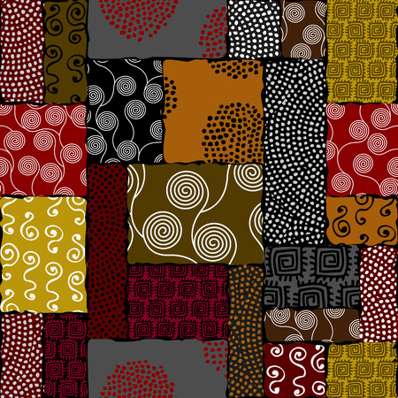 Ethnic boho seamless pattern in African style on black background. Vettoriali