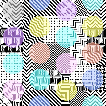 Seamless background. Geometric abstract pattern in a patchwork style. Vector image. 向量圖像