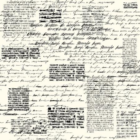 Un motivo di sfondo senza soluzione di continuità. Imitazione di una scritta vintage astratta. Testo illeggibile.