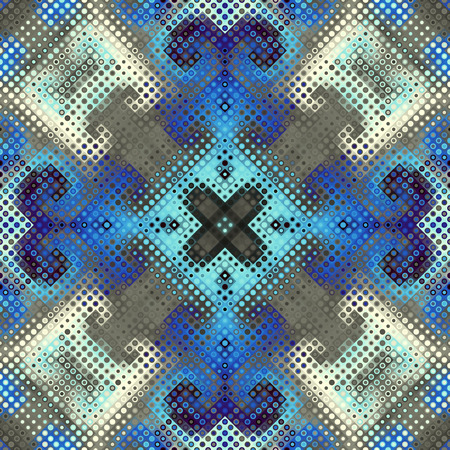 Seamless background. Geometric abstract symmetric pattern in low poly pixel art style. Polka dot pattern on low poly background. Vector image.