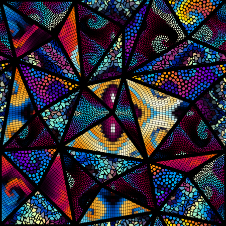 A Seamless background pattern. Mosaic art pattern of triangles of different tile textures. Illustration