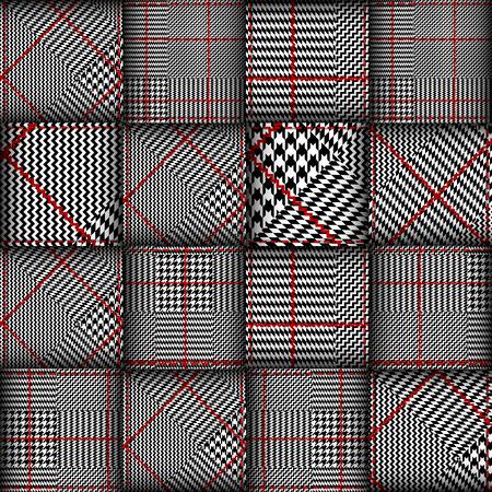 Nahtloses vektormuster. Patchwork aus klassischen Glen Plaid-Mustern. Vektor-Bild. Vektorgrafik