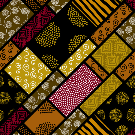 Ethnic Boho seamless pattern in African style background.