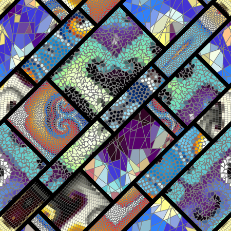 Seamless background pattern. Mosaic art pattern of rectangles of different tile textures. Vector image. Illustration