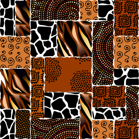 Ethnic boho seamless pattern in African style on black background. Tribal art print. Irregular polka dots pattern. Vector image.