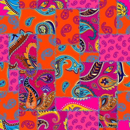 Seamless background pattern. Patchwork pattern with Paisley ornament patterns. Bright magenta and orange colors. Ethnic Indian style.