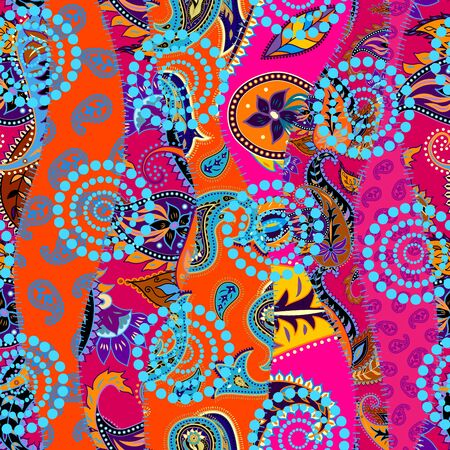 A patchwork pattern with Paisley ornament patterns. Bright magenta and orange colors in ethnic indian style.