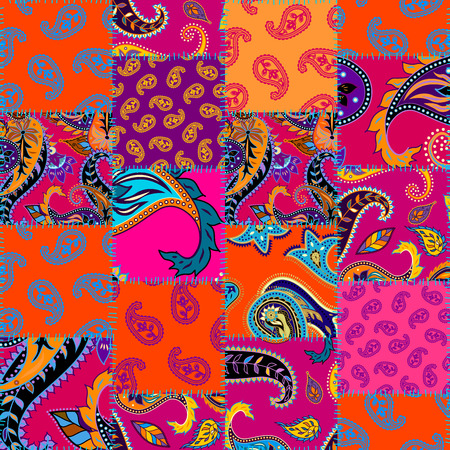 Seamless background pattern. Patchwork pattern with Paisley ornament patterns. Bright magenta and orange colors. Ethnic indian style. Illustration