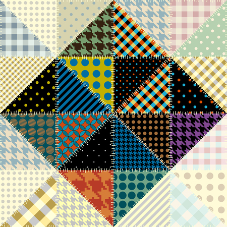 Seamless background pattern. Patchwork pattern of triangles. Vector image. Çizim