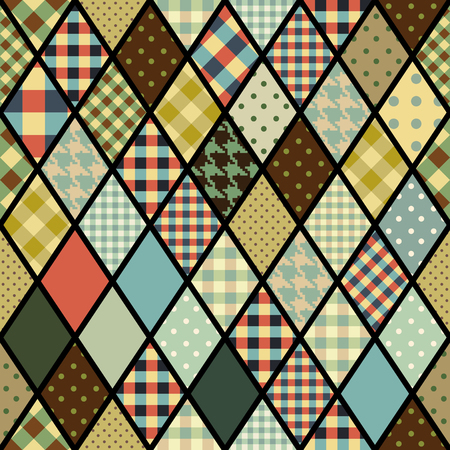 Seamless vector pattern. Geometric patchwork rhombuses pattern. Vector image.