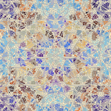 Low poly ornamental texture based on decorative elements Paisley. Seamless pattern in indian style. Symmetric ornament.