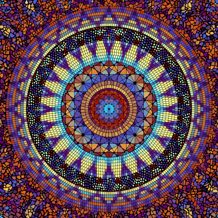 Seamless background pattern. Round mosaic art pattern of different tile textures.