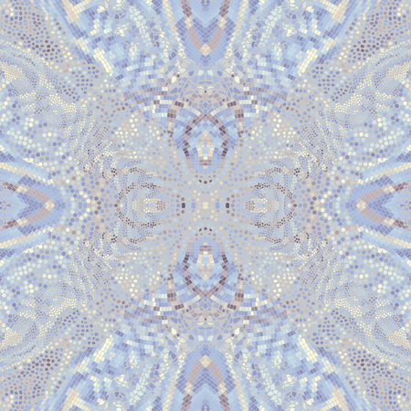 Seamless background pattern. Symmetric mosaic art pattern of different tile textures. Art Nouveau style.
