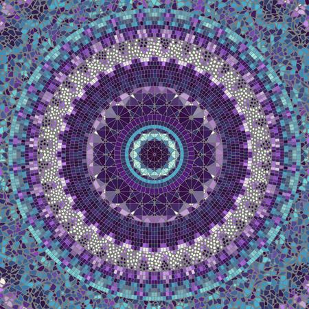 Nahtloses Hintergrundmuster. Rundes Mosaikkunstmuster verschiedener Fliesentexturen. Standard-Bild - 104076934