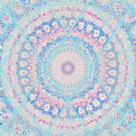 Nahtloses Hintergrundmuster. Mosaikkunstmuster von Rauten verschiedener Fliesentexturen. Vektorbild. Standard-Bild - 104077213