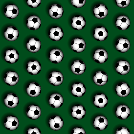 Seamless background pattern. Pattern of soccer balls on green background.