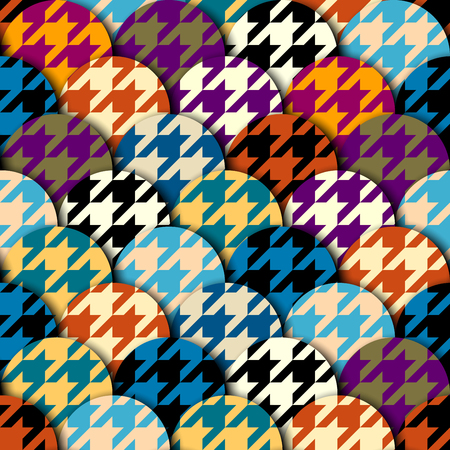 Seamless geometric pattern. Classic Hounds-tooth pattern in a patchwork collage style. Vector image. Ilustração