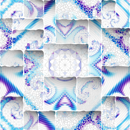 Seamless background pattern. Emboss mosaic art pattern based on Art Nouveau style. Vector image. Ilustrace