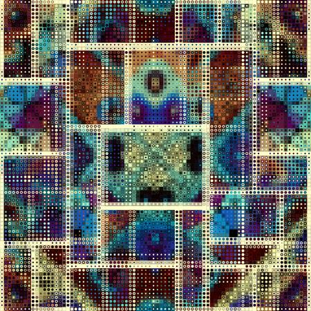 Sfondo senza soluzione di continuità Motivo simmetrico astratto geometrico in stile poli basso pixel art. Motivo a pois su sfondo basso poli. Immagine vettoriale.