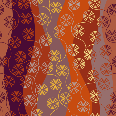 Seamless brown patchwork pattern. Curly waves pattern in Art Nouveau style. Vector illustration. Illustration
