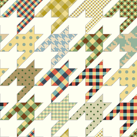 Seamless background pattern. Geometrical Hounds-tooth pattern in a patchwork style. Vector image.