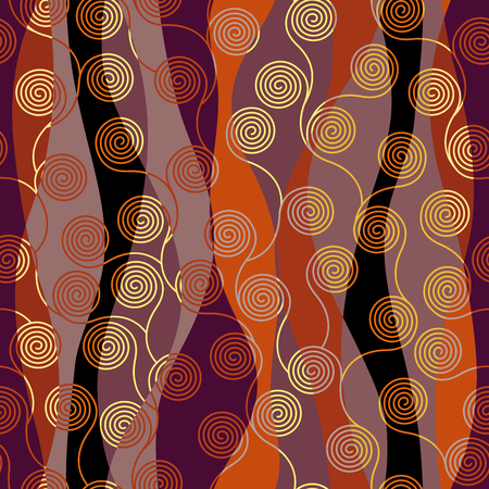 Seamless brown patchwork pattern. Curly waves pattern in Art Nouveau style. Vector illustration. Imagens - 111672051
