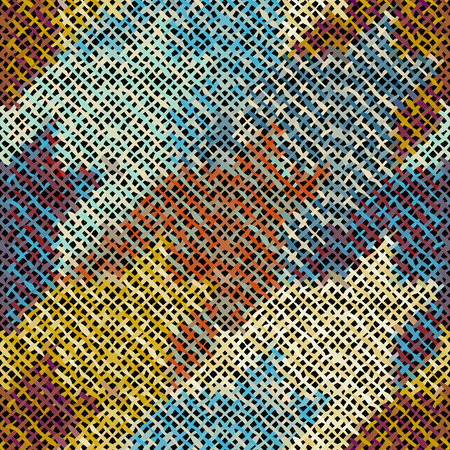 Seamless Hounds-tooth pattern. Imitation of a texture of rough canvas. Vector image. 向量圖像