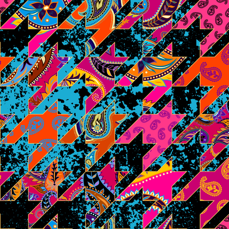 Seamless background pattern. Geometrical Hounds-tooth pattern in a patchwork style. Illustration